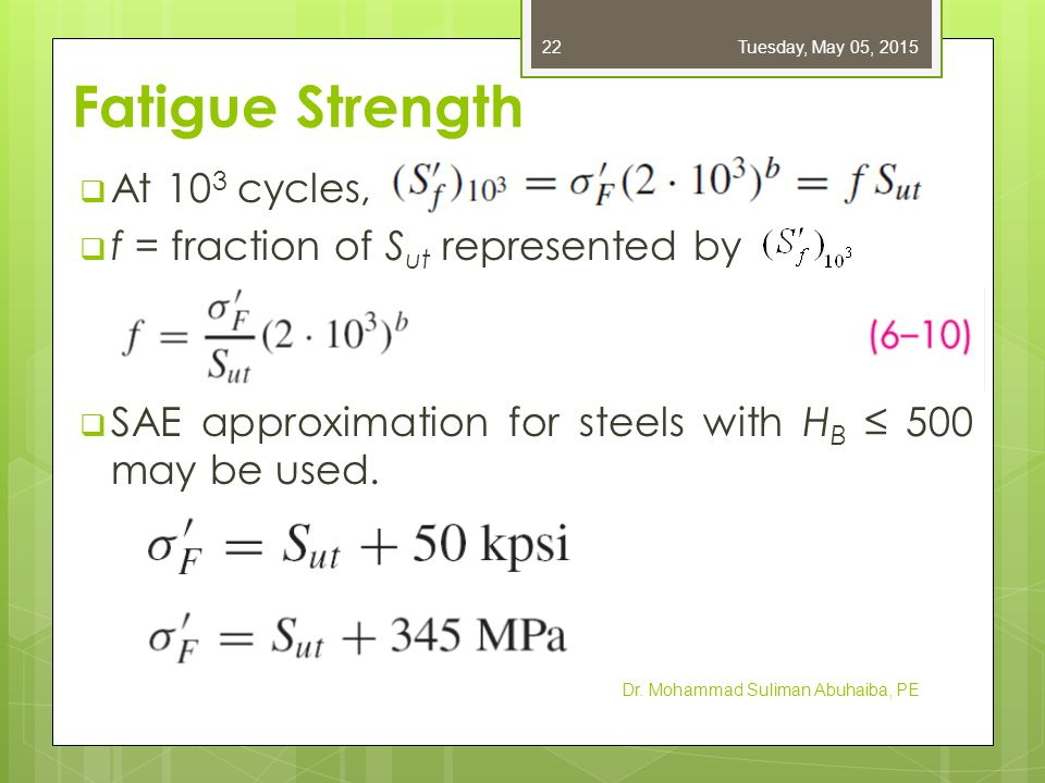 Fatigue Strength  To find b, substitute endurance strength and corresponding cycles into Eq.