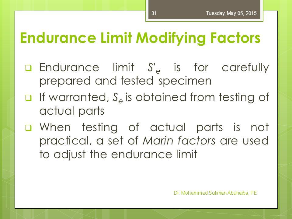 Endurance Limit Modifying Factors Dr. Mohammad Suliman Abuhaiba, PE Tuesday, May 05, 201532