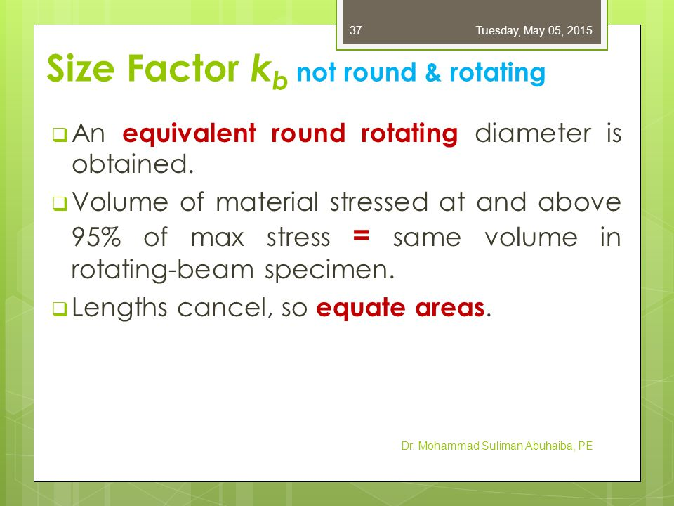  For a rotating round section, the 95% stress area is the area of a ring,  Equate 95% stress area for other conditions to Eq.