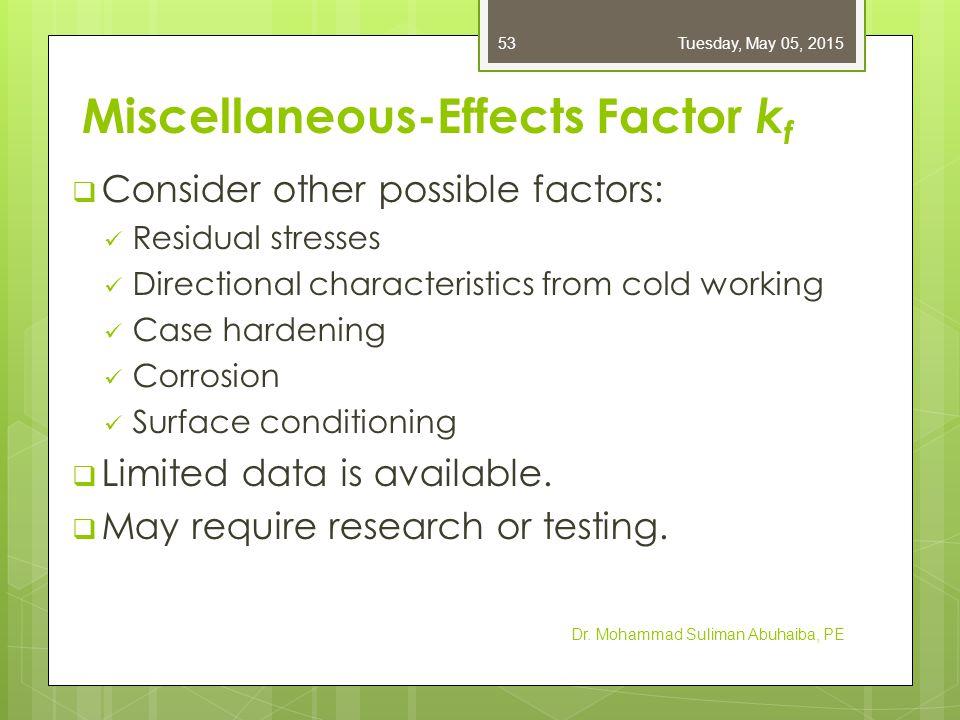 Stress Concentration and Notch Sensitivity  Obtain K t as usual (Appendix A–15)  K f = fatigue stress-concentration factor  q = notch sensitivity, ranging from 0 (not sensitive) to 1 (fully sensitive)  For q = 0, K f = 1  For q = 1, K f = K t Dr.