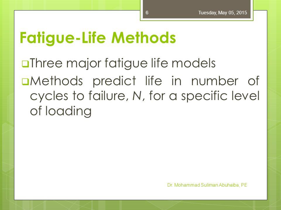 Fatigue-Life Methods 1.Stress-life method 2. Strain-life method 3.
