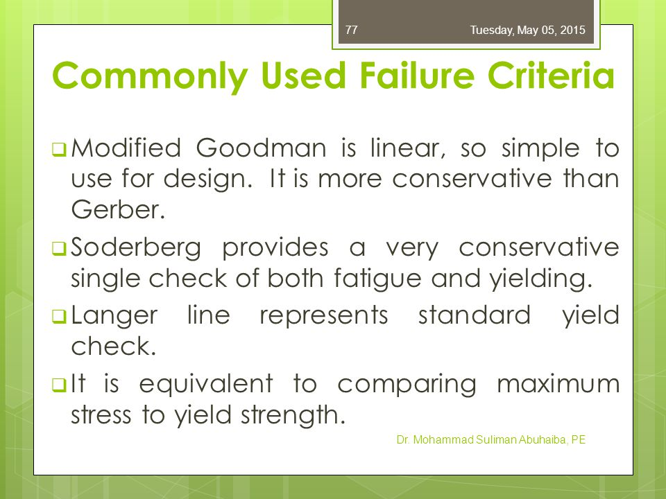 Equations for Commonly Used Failure Criteria Dr.