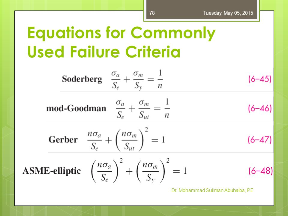 Summarizing Tables for Failure Criteria  Tables 6–6 to 6–8: equations for Modified Goodman, Gerber, ASME-elliptic, and Langer failure criteria  1 st row: fatigue criterion  2 nd row: yield criterion  3 rd row: intersection of static and fatigue criteria  4 th row: equation for fatigue factor of safety  1 st column: intersecting equations  2 nd column: coordinates of the intersection Dr.