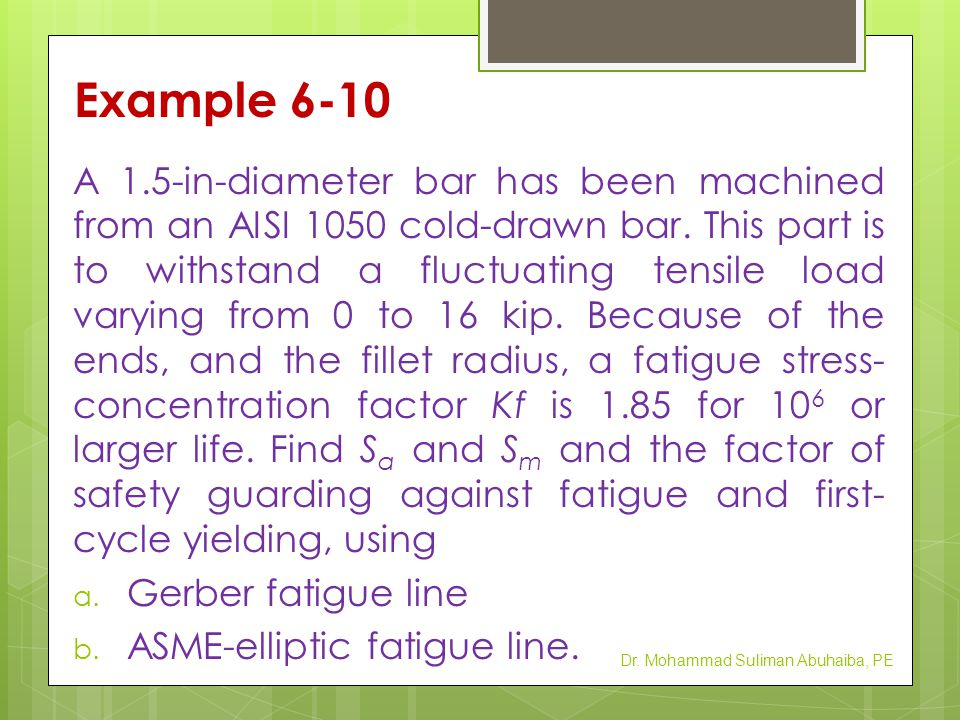 Example 6-10 Dr. Mohammad Suliman Abuhaiba, PE
