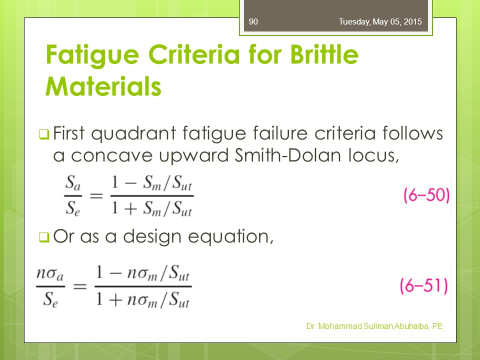 Fatigue Criteria for Brittle Materials  For a radial load line of slope r, the intersection point is  In the second quadrant,  Table A–24: properties of gray cast iron, including endurance limit  Endurance limit already includes k a and k b  Average k c for axial and torsional is 0.9 Dr.