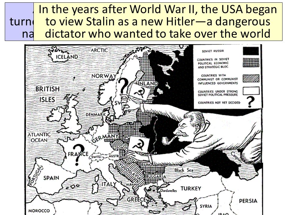 Capitalism & Democracy Communism & Totalitarianism By 1946, Europe was divided by an iron curtain that separated democratic/capitalist Western Europe from communist/totalitarian Eastern Europe