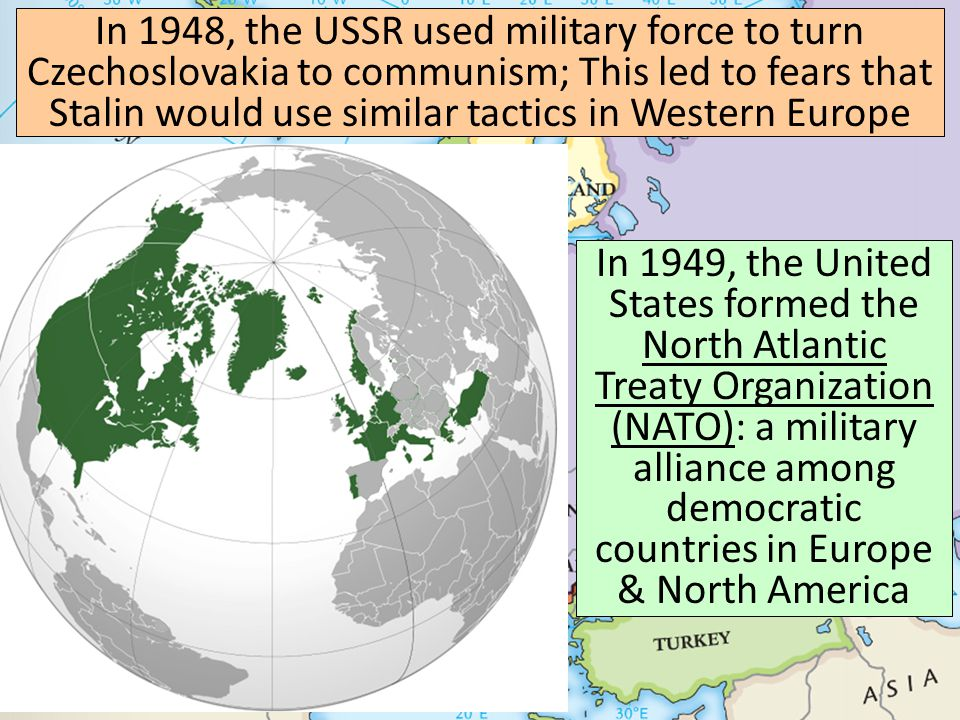 NATO Communist Bloc NATO was one of many alliances the USA would form with democratic nations over the course of the Cold War