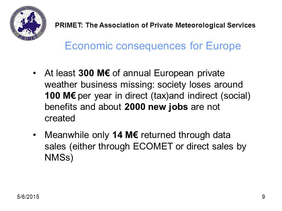 PRIMET: The Association of Private Meteorological Services 5/6/201510 Key problems in today's Europe Data supply and some end user business areas (e.g.