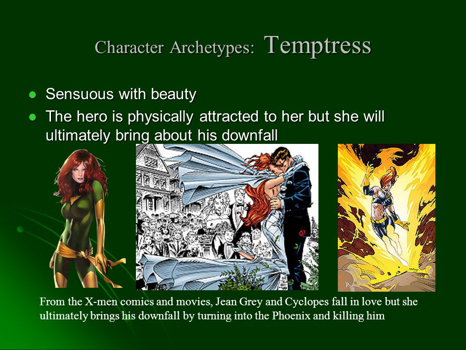 Character Archetypes: The Unfaithful Wife Woman, married to a man she sees dull Woman, married to a man she sees dull Attracted to a more interesting or handsome man Attracted to a more interesting or handsome man Commits an act of Infidelity Commits an act of Infidelity Helen of Troy left her husband to be with Paris, a more attractive and virile man