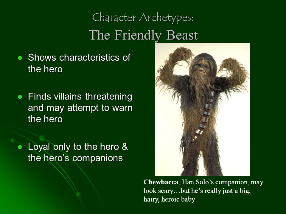 Character Archetypes: Evil figure w/ ultimately good heart A Redeemable Devil A Redeemable Devil Saved by the love or faith of a hero Saved by the love or faith of a hero May have started out good, then through a fall becomes evil, but returns to good in the end May have started out good, then through a fall becomes evil, but returns to good in the end Bah.