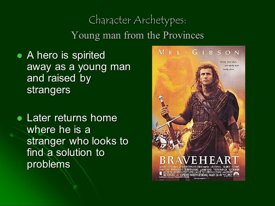 Character Archetypes: Hunting group of companions Loyal to the hero Loyal to the hero Group willing to face dangers in order to be together Group willing to face dangers in order to be together Robin Hood's Merry Men never abandoned him despite the danger
