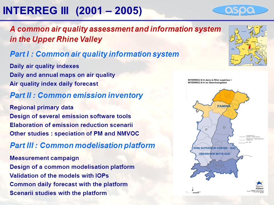 Part 1 : common information system Bilingual website presenting daily data of german, french and swiss air quality networks in the Upper Rhine Region Interpolated map of NO2 concentrations – 2005 March 16 12:00 Map of air quality indexes – 2005 March 11 09:00 http://www.umeg.de/messwerte/ir3web/