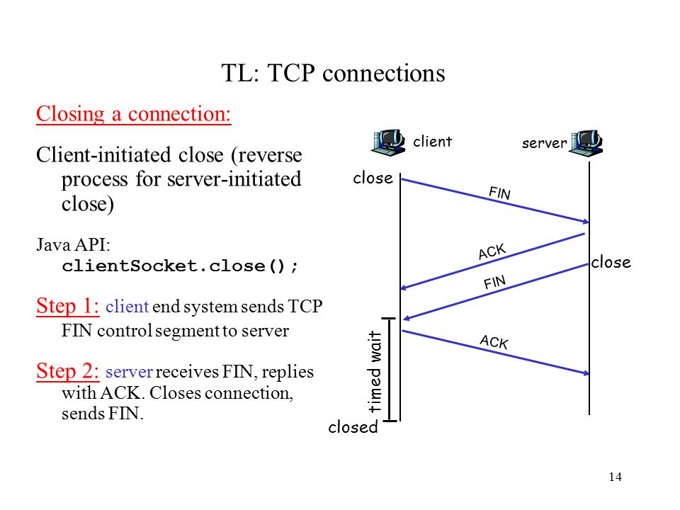 15 TL: TCP connections Step 3: client receives FIN, replies with ACK.