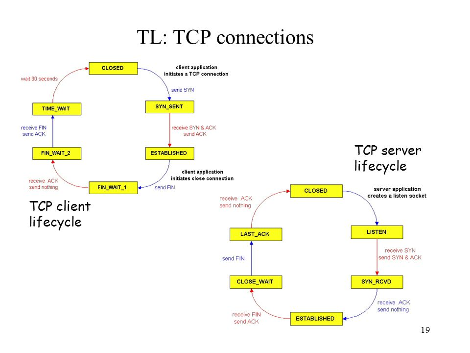 20 TL: TCP Demux to upper layer multiplexing/demultiplexing: based on sender, receiver port numbers, IP addresses –source, dest port #s in each segment –recall: well-known port numbers for specific applications –Servers wait on well known ports (/etc/services) gathering data from multiple app processes, enveloping data with header (later used for demultiplexing) source port #dest port # 32 bits application data (message) other header fields TCP/UDP segment format Multiplexing: