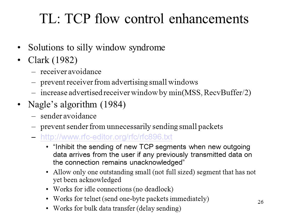 27 TL: TCP reliable data transfer Segment integrity Acknowledgement generation Retransmission