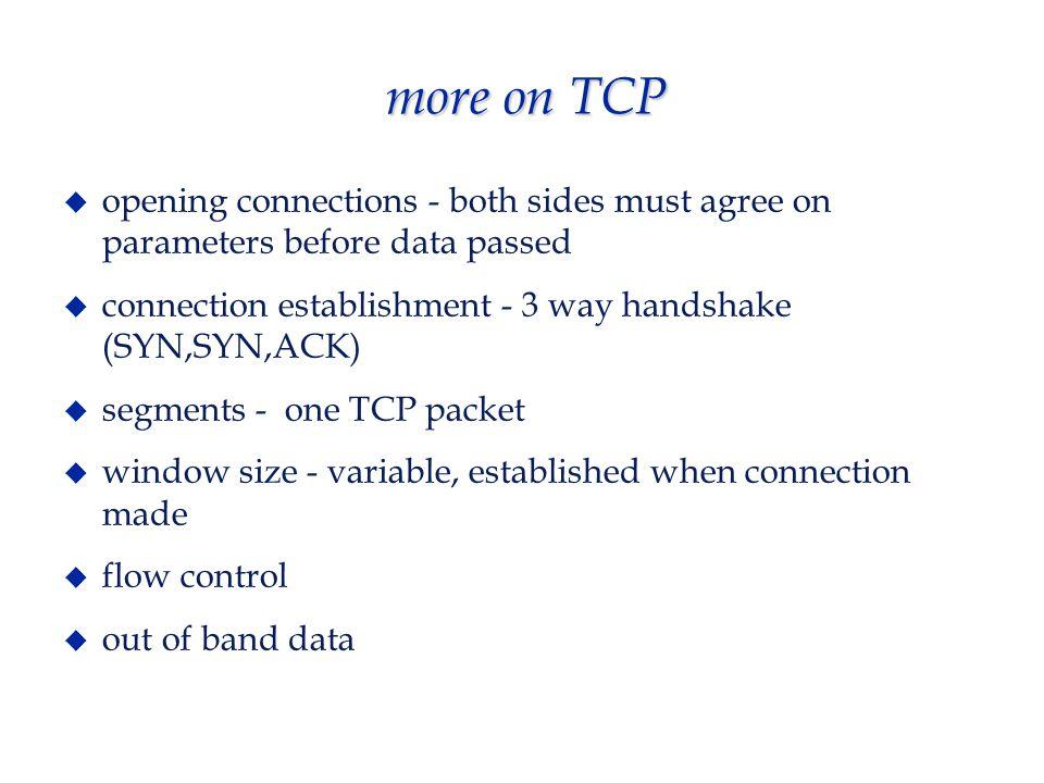 TCP connection establishment  3 way handshake (3 messages needed) 1.
