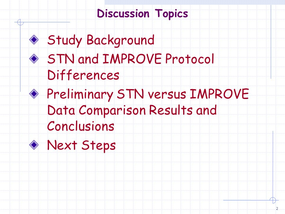 3 STN/IMPROVE Intercomparison Why did we do this study.