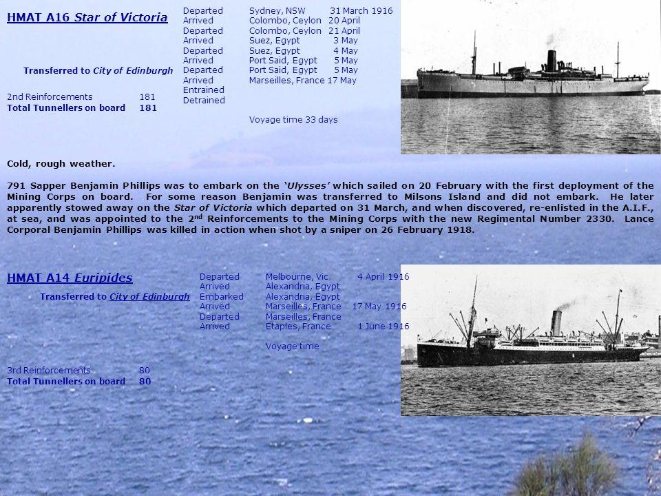 HMAT A69 Warilda DepartedBrisbane, Qld Early May 1916 ArrivedSydney, NSW Early May DepartedSydney, NSW 22 May ArrivedMelbourne, VIC 22 May DepartedMelbourne, VIC 25 May Arrived Fremantle, WA 1 June DepartedFremantle, WA 1 June ArrivedDurban, Sth.