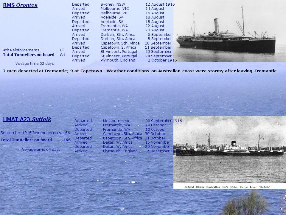 HMAT A38 Ulysses DepartedMelbourne, Vic 25 October 1916 ArrivedDurban, Sth.