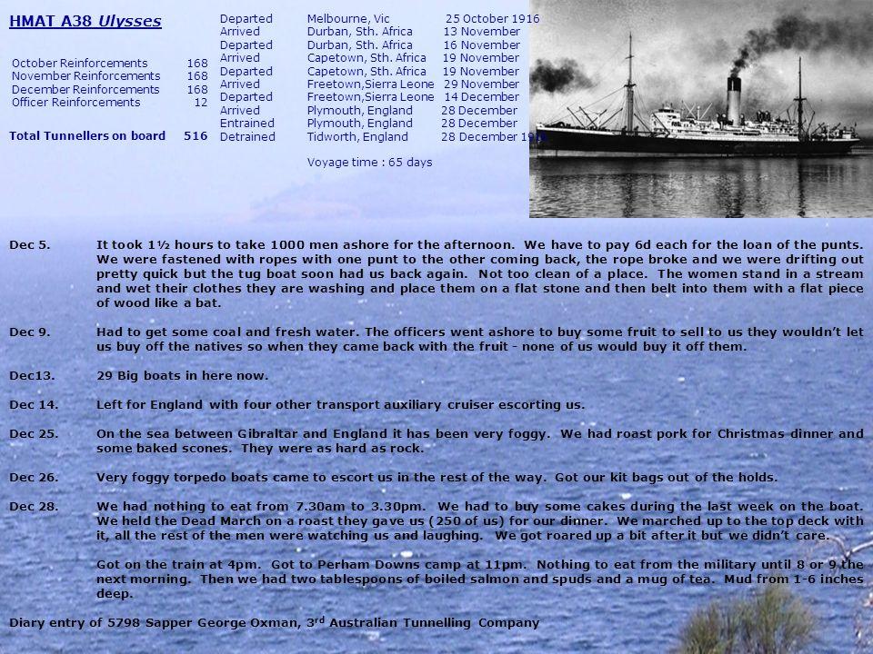 HMAT A5 (RMS) Omrah DepartedSydney, NSW 13 January 1917 ArrivedMelbourne, VIC 17 January DepartedMelbourne, VIC 17 January ArrivedAdelaide, SA 19 January DepartedAdelaide, SA 19 January ArrivedFremantle, WA 21 January DepartedFremantle, WA 24 January ArrivedFremantle, WA 1 February DepartedFremantle, WA 2 February ArrivedDurban, Sth.