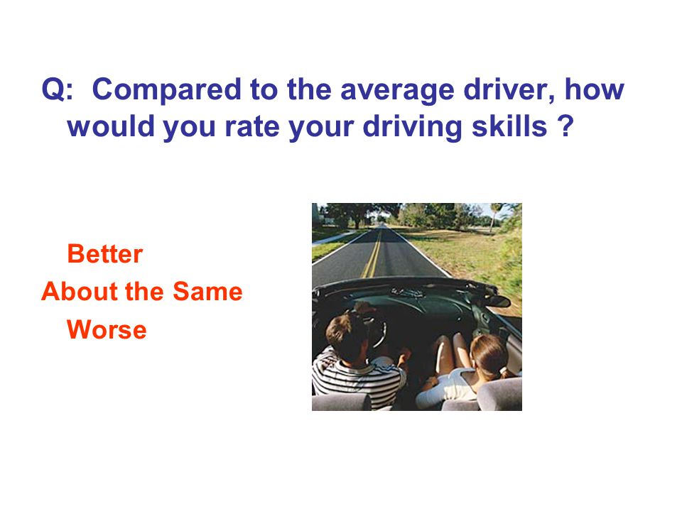 Q: Compared to the average driver, how would you rate your driving skills .