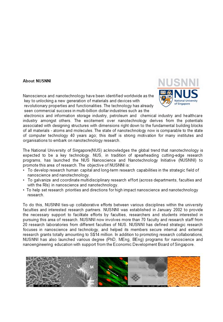 Milestones of NUSNNI On 14, January, 2002, NUSNNI was set up to promote research in nano- science and nanotechnology.