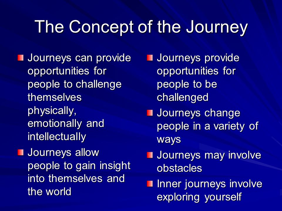 Consequences of Journeys Changes in the individual- physically, psychologically, intellectually Changes in society eg.