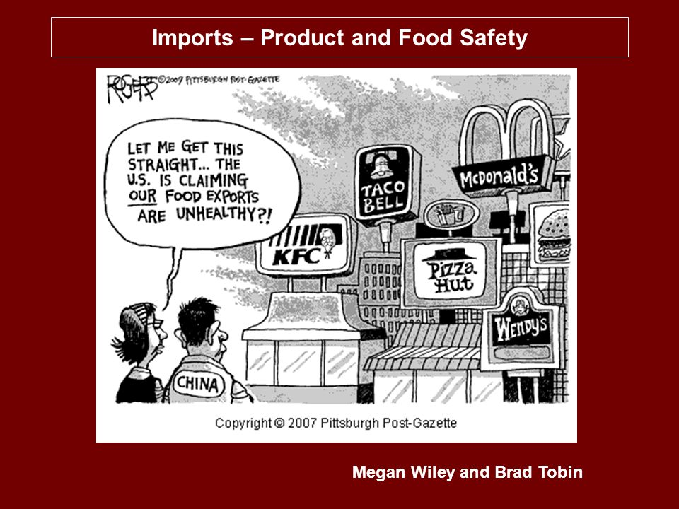 Imports - Food and Product Safety2 OVERVIEW Reports of unsafe seafood, pet food, toys, tires, and other products imported over the past year have raised concern in the US over the health, safety, and quality of imported products Numerous recalls and warnings have been issued by U.S.