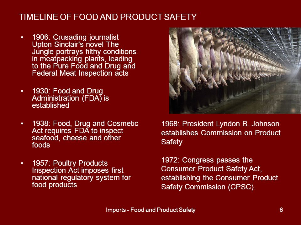 Imports - Food and Product Safety7 TIMELINE OF FOOD AND PRODUCT SAFETY 1989: Reagan-era cutbacks shrink CPSC budget by $6.5 million; FDA loses about 1,000 employees 2004: China s share of U.S.