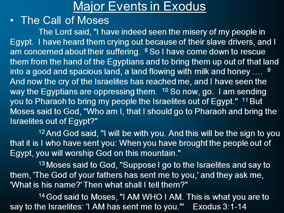 Major Events in Exodus The Plagues on Egypt Plague #1 – Ex.