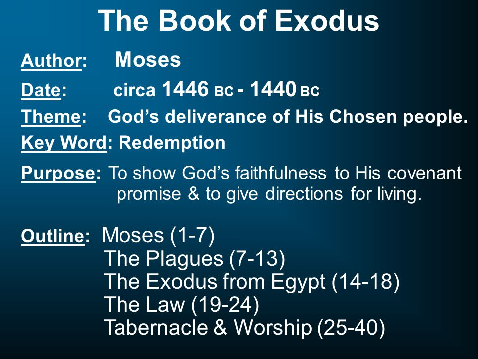 The Book of Exodus Author: Moses Date: circa 1446 BC - 1440 BC Theme: God's deliverance of His Chosen people.