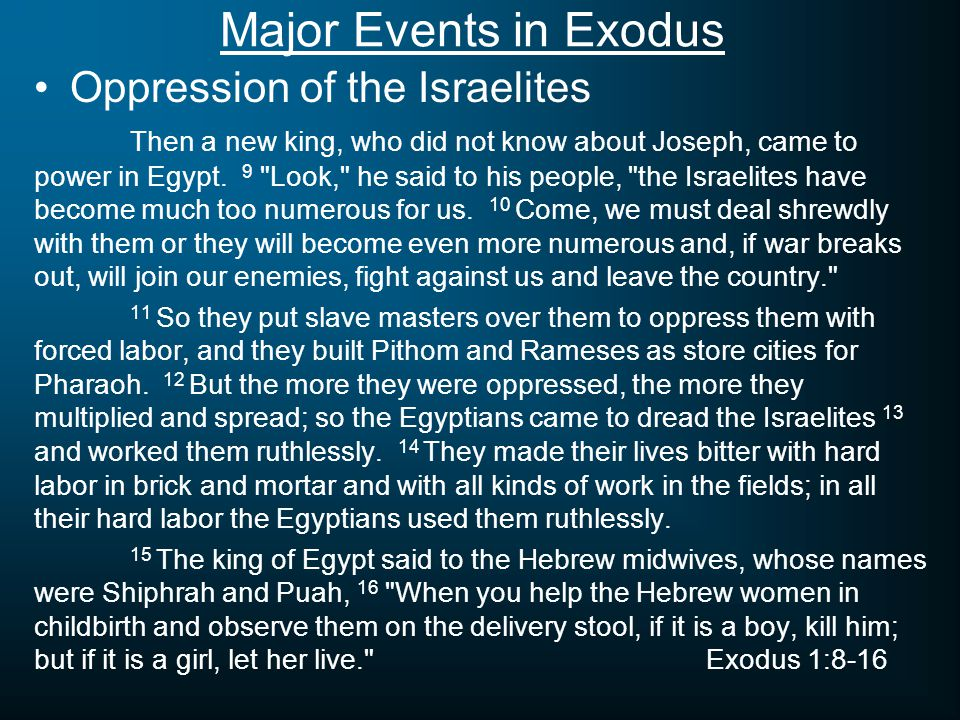 Major Events in Exodus Birth & Preservation of Moses Now a man of the house of Levi married a Levite woman, 2 and she became pregnant and gave birth to a son.