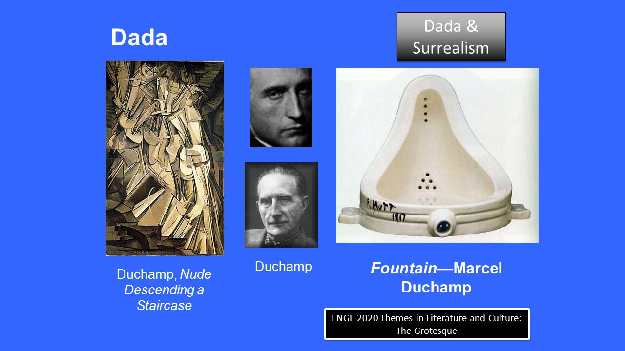 ENGL 2020 Themes in Literature and Culture: The Grotesque Surrealism  The name is intended to mean above/beyond realism Dada & Surrealism Dada & Surrealism