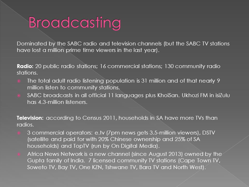  Media 24: 10% of the editorial workforce in Media 24's Afrikaans news division in 2012, English titles lost 53 positions.