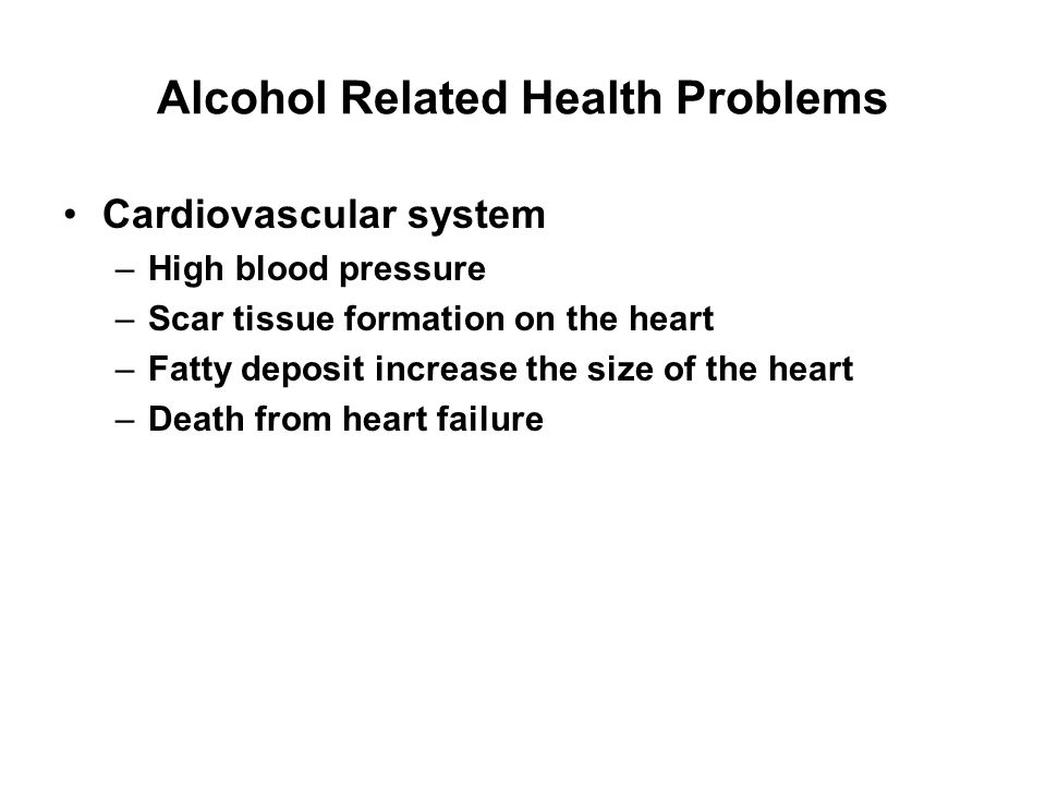 Alcohol Related Health Problems Liver metabolizes the alcohol Liver is the most vulnerable organ to alcohol Heavy drinking damages the liver causing cirrhosis and eventual death
