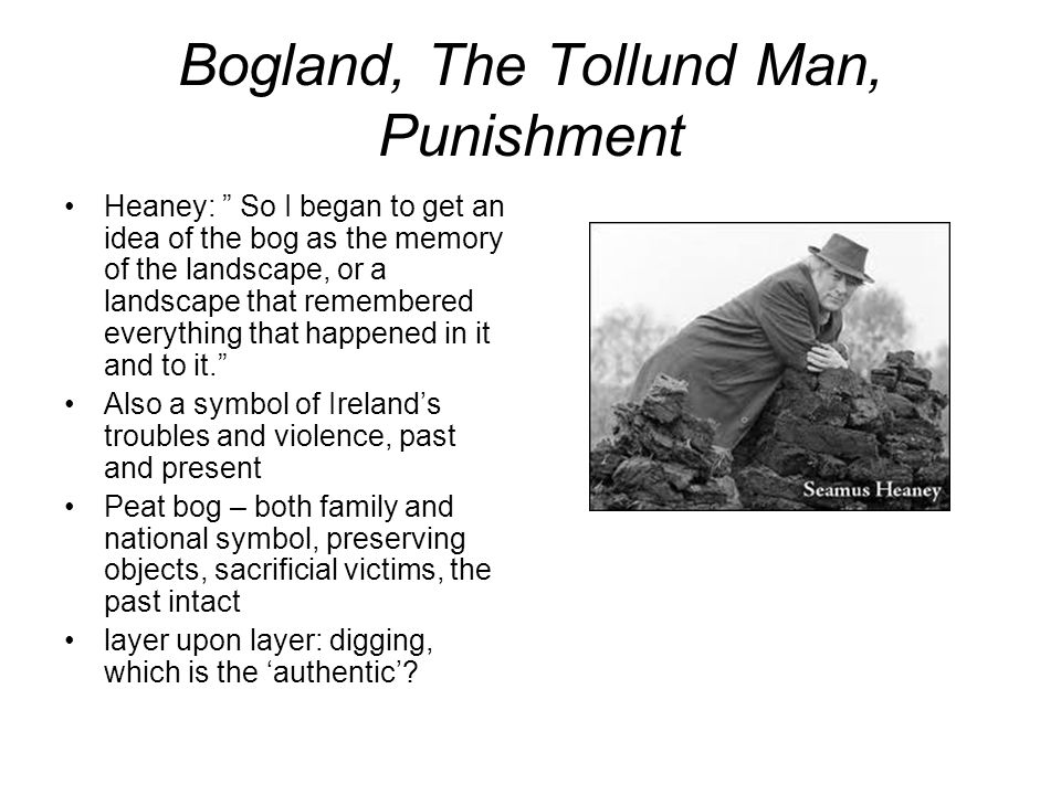 Bogland – vs England (undefined, mythical, rural, in- sight, fertile depths) […] Melting and opening underfoot, Missing its last definition By millions of years.