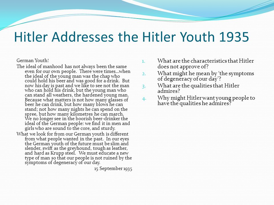 Hitler Youth Posters 1.What words would you use to describe the young men in these posters.