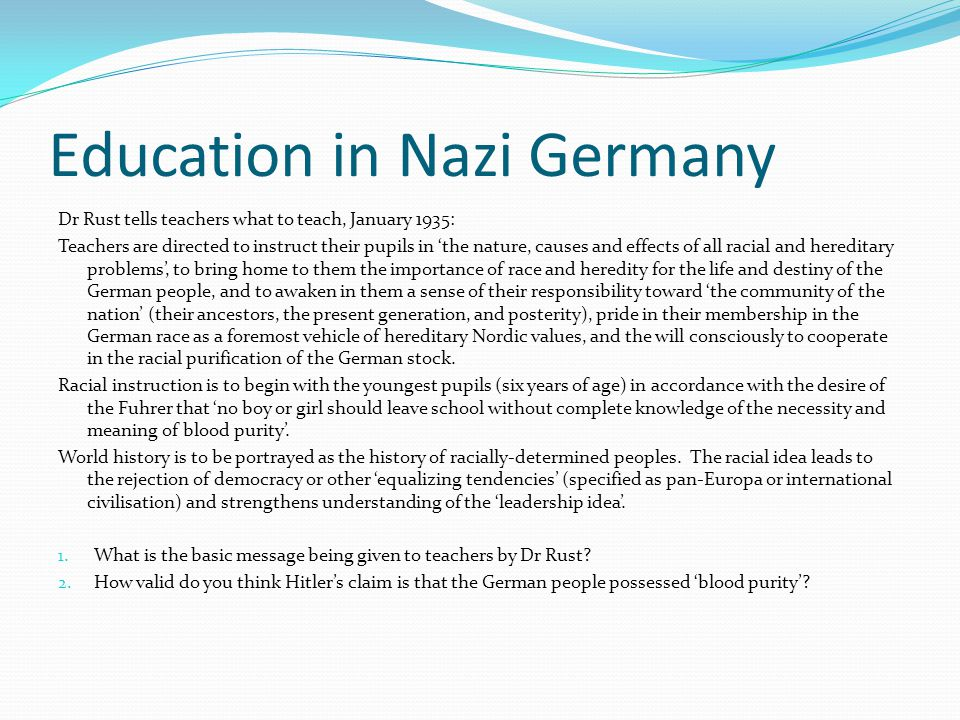A German father describes a question his child had to answer at school.
