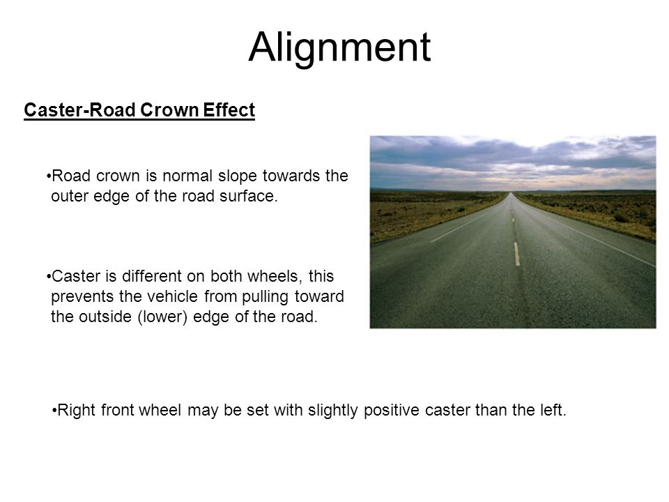 Alignment Camber is the inward or outward tilt of the wheel and tire assembly when viewed from the front of the vehicle.