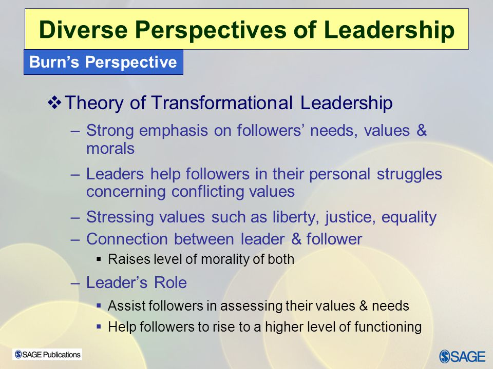 Chapter 15 – Leadership Ethics Diverse Perspectives of Leadership Greenleaf's Perspective  Servant Leadership – has strong altruistic ethical overtones  Leaders – –focus on & attentive to needs of followers –empathize with followers –take care of and nurture followers  Leader has a social responsibility to be concerned with have-nots in the organization and: –Remove inequalities & social injustices –Uses less institutional power –Uses less control –Shifts authority to followers