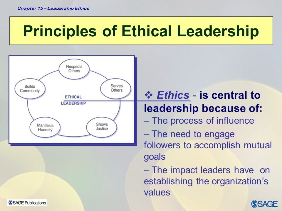 Chapter 15 – Leadership Ethics Principles of Ethical Leadership Respects Others  Leader shall: –Treat other people's values and decisions with respect –Allow others to be themselves with creative wants and desires –Approach others with a sense of unconditional worth and value individual differences  Leader behaviors: - Listens closely to subordinates - Is empathic - Is tolerant of opposing viewpoints Treating others as ends (their own goals) rather than as means (to leaders' personal goals)