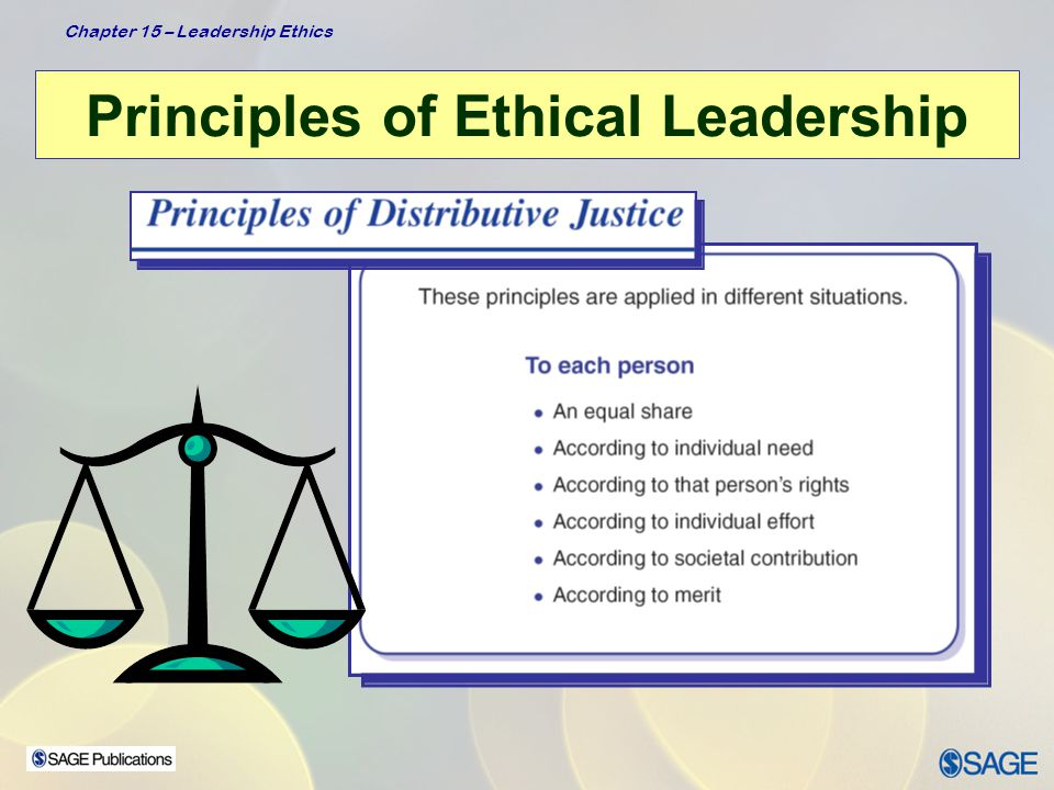 Chapter 15 – Leadership Ethics Principles of Ethical Leadership  Leaders: –Are not deceptive –Tell the truth with a balance of openness and candor while monitoring what is appropriate to disclose in a particular situation Honest leaders are authentic but also sensitive to the feelings and attitudes of others  Leader behaviors – Don't promise what you can't deliver – Don't suppress obligations – Don't evade accountability – Don't accept survival of the fittest pressures – Acknowledge and reward honest behavior in the organization Manifests Honesty