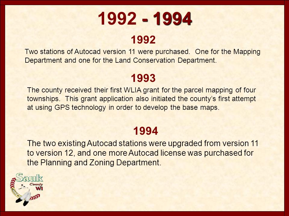 1996 In 1996 the second cartographic position was created in the Mapping Department.