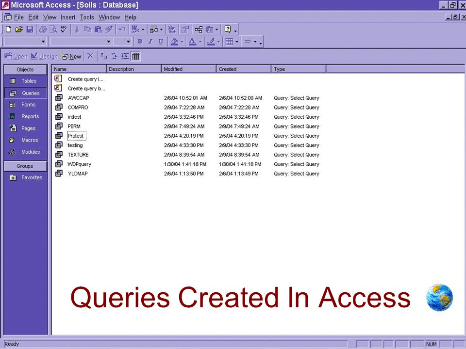 The reason for creating queries in MS-Access is because RIT can read these queries and you can then combine elements of different tables.