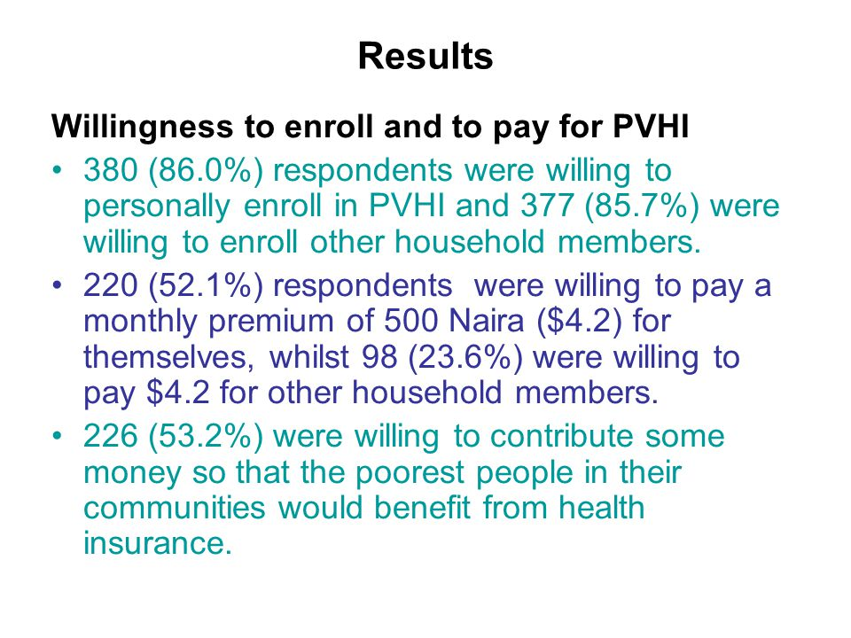 Results II For the full sample of the respondents, the median monthly WTP for personal premium was 500 Naira ($4.2), whilst it was 200 Naira ($1.7) per person for other household members.