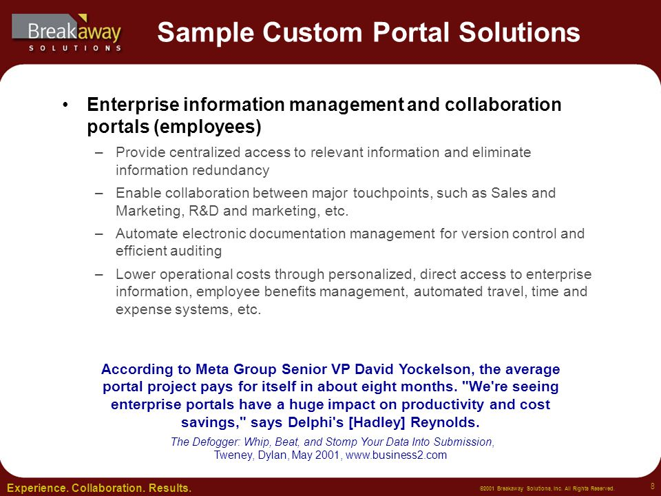 Experience.Collaboration. Results. ©2001 Breakaway Solutions, Inc.