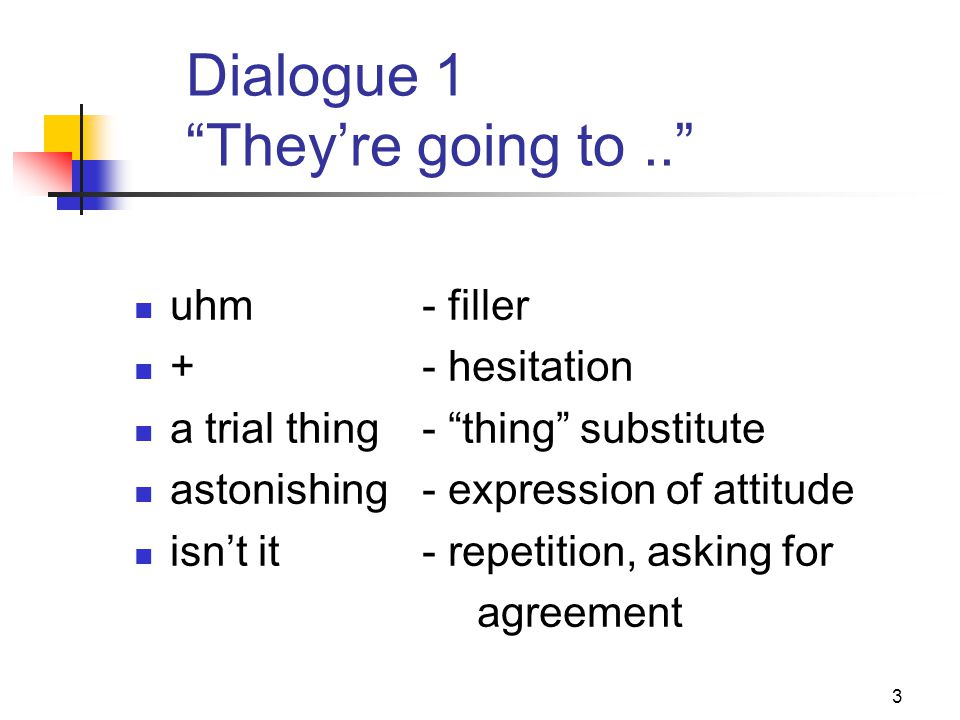4 Dialogue 2 I remember very vaguely oh- attitude/filler this … this- repetition history … history- repetition +- hesitation yes- agreement