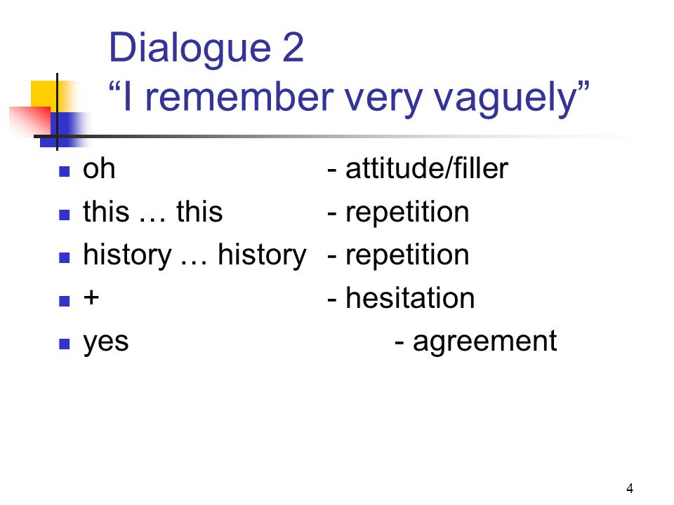 5 Dialogue 3 were you watching …? +- hesitation put up with- prepositional expression watch …watch- repetition I watched it on Saturday- repetition supporters- repetition were booing them- repetition