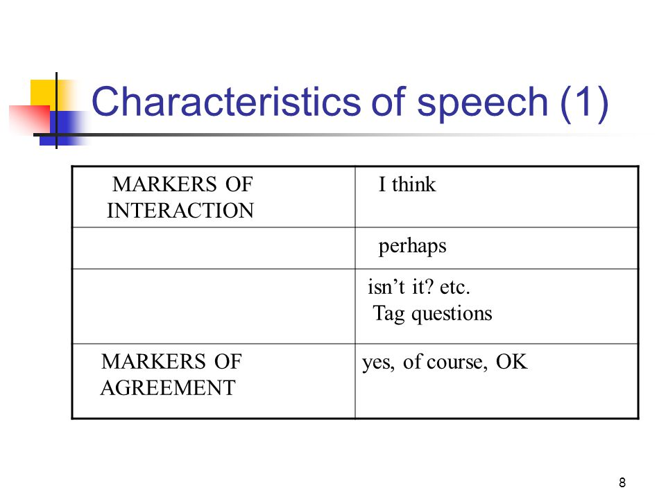 9 Characteristics of speech (2) FILLERSer, erm, well, ah shows that S wants to continue speaking REPETITION OF WORDS yes … yes yes, I do reduplication reinforces message EXPRESSION OF ATTITUDE good, wonderful shows speaker involvement PAUSE, HESITATION, REFORMULATION + + + + +There was no ele + There was no electricity