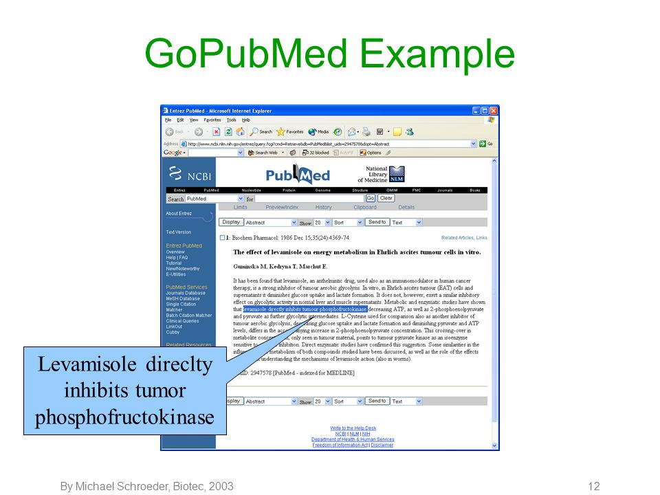 By Michael Schroeder, Biotec, 200313 GoPubMed Example In PubMed the article is listed at position 84.